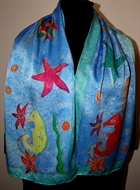 Sea Life Blue Silk Scarf