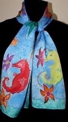Sea Life Blue Silk Scarf 2