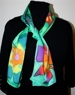 Green Silk Scarf with Big Stylized Flowers