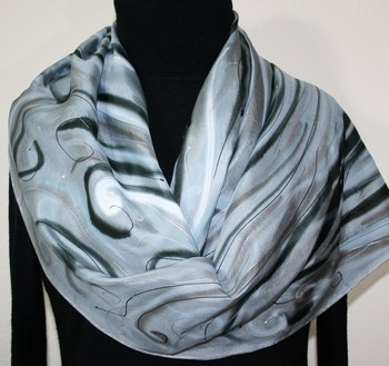 Winter Blizzard Hand Painted Silk Scarf in Silver Gray and Black