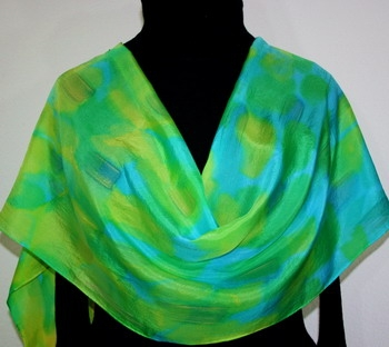 Seaside Morning Hand Painted Silk Scarf in Green, Turquoise and Yellow