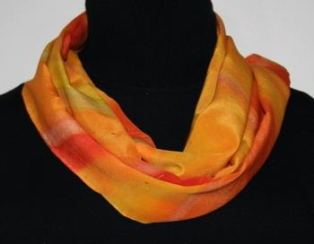 Sunshine Rainbow Hand Painted Silk Scarf in Orange, Yellow and Red