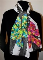 Black and White Silk Scarf with Red and Green Mosaic Flowers