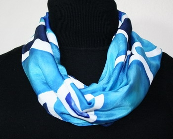 Ocean Garden Hand Painted Silk Scarf in Turquoise and Blue