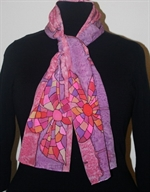 Pink and Purple Silk Scarf with Mosaic Flowers