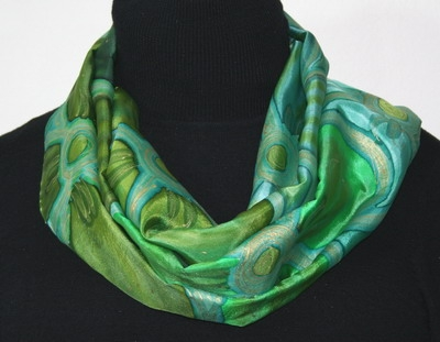 Spring Clovers Hand Painted Silk Scarf in Green