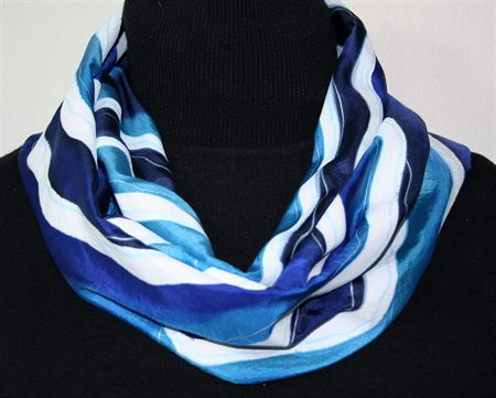 Wave Dance Hand Painted Silk Scarf in Turquoise, Blue and White
