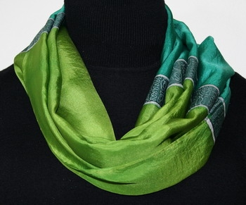 Emeralds and Silver Hand Painted Silk Scarf in Green