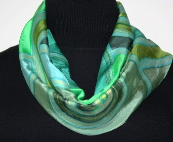 Prairie Winds Hand Painted Silk Scarf in Green