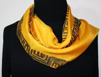 Golden Greek Hand Painted Silk Scarf in Golden Yellow
