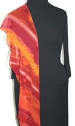 Passion Flames Hand Painted Silk Scarf in Red and Burgundy - 4