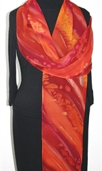 Passion Flames Hand Painted Silk Scarf in Red and Burgundy - 3