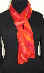 Passion Flames Hand Painted Silk Scarf in Red and Burgundy - 2