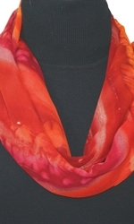 Passion Flames Hand Painted Silk Scarf in Red and Burgundy - 1