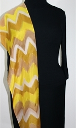 Caramel Macchiato Hand Painted Silk Scarf in Yellow and Light Brown - 4