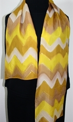Caramel Macchiato Hand Painted Silk Scarf in Yellow and Light Brown - 3