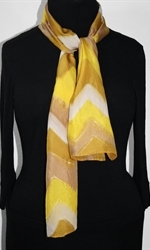 Caramel Macchiato Hand Painted Silk Scarf in Yellow and Light Brown - 2