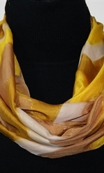 Caramel Macchiato Hand Painted Silk Scarf in Yellow and Light Brown - 1