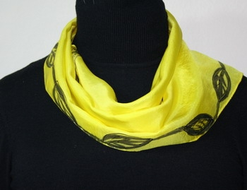 Sweet Lemon Hand Painted Silk Scarf - size 8x52 in Light Yellow