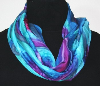 Caribbean Garden Hand Painted Silk Scarf - size14x70 in Blue, Turquoise and Purple