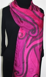 Pink Paradise Hand Painted Silk Scarf in Fuchsia and Pink - 3