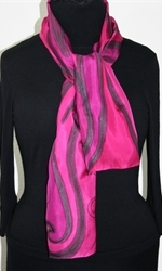 Pink Paradise Hand Painted Silk Scarf in Fuchsia and Pink - 2