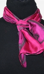 Pink Paradise Hand Painted Silk Scarf in Fuchsia and Pink - 1