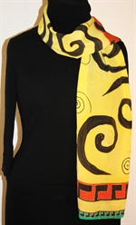Yellow and Black Silk Scarf