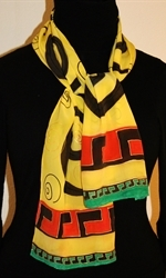 Yellow and Black Silk Scarf 2