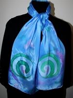Blue Silk Scarf with Green Spirals