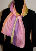 Orange-and-Purple Stripes Silk Scarf