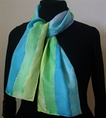Blue-and-Green Stripes Silk Scarf