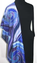 Sea Lover Hand Painted Silk Scarf in Blue and Purple - 4