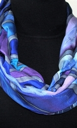 Sea Lover Hand Painted Silk Scarf in Blue and Purple -1