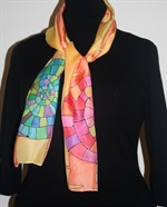 Yellow-and-Orange Silk Scarf with Big Mosaic Snail Spirals
