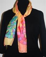 Yellow-and-Orange Silk Scarf with Big Mosaic Snail Spirals