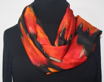 Flowing Lava Hand Painted Silk Scarf in Red, Orange and Black
