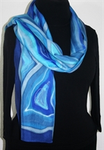 Winter Rivers Hand Painted Silk Scarf in Blue and Turquoise