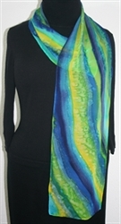 Morning Landscape Hand Painted Silk Scarf in Blue, Green and Yellow