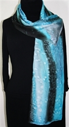 Colorado Blizzard Hand Painted Silk Scarf in Sky Blue and Black