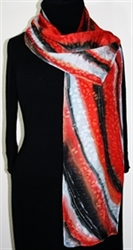 Stormy Sunset Hand Painted Silk Scarf in Red, Gray and Black