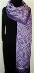 Purple Chic Hand Painted Silk Scarf in Lavender and Purple