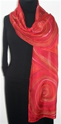 Red Swirls Hand Painted Silk Scarf in Red and Terracotta