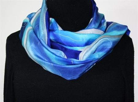 Hand Painted Silk Scarf Beautiful Blizzard. Silk Scarf in Blue. Large size silk wrap 21x70. Made in Colorado. MADE TO ORDER.