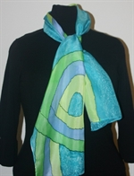Blue-and-Green Loop Silk Scarf