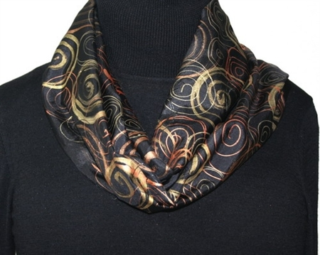 Black Hand Painted Silk Scarf. Golden Winds Silk Scarf in Black, Golden and Bronze. Size 11x60. 100% silk. MADE TO ORDER