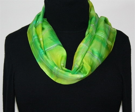Spring Song Hand Painted Silk Scarf. Silk Scarf in in Lime. Size 8x70. Made in Colorado. 100% silk. MADE TO ORDER.