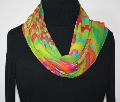 Hand Painted Silk Scarf Wild Roses. Silk Scarf in Pink, Orange and Lime. Size 13x67. Made in Colorado. 100% silk chiffon.