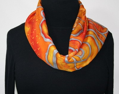 Hand Painted Silk Scarf Raining Sunshine. Silk Scarf in Orange, Yellow and Red. Size 11x60. Made in Colorado. 100% silk. MADE TO ORDER.