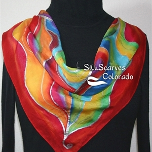 Red Hand Painted Silk Scarf. Red, Yellow, Green, Purple, Blue Handmade Scarf PASSION WINDS. Size 22x22 square. Silk Scarves Colorado.